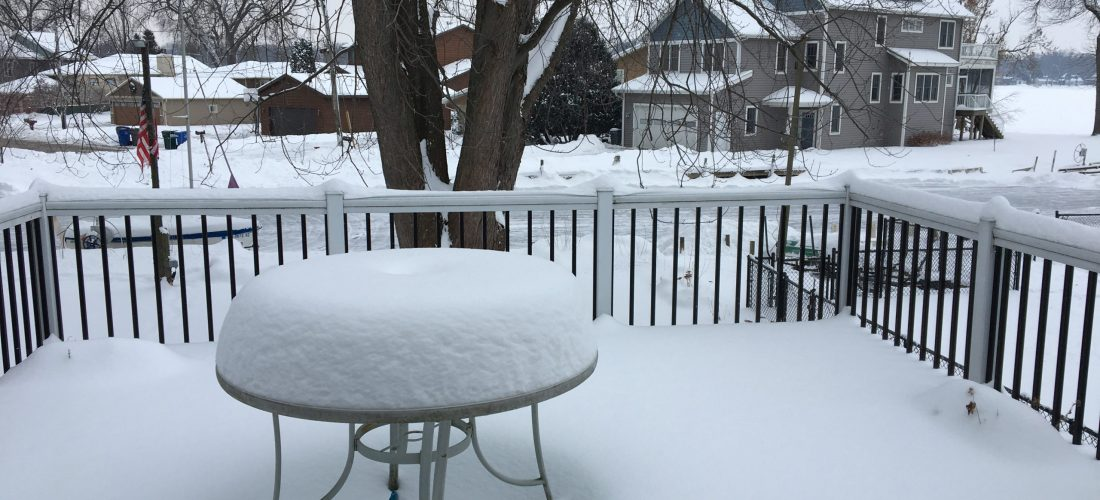 Winter snow on the deck