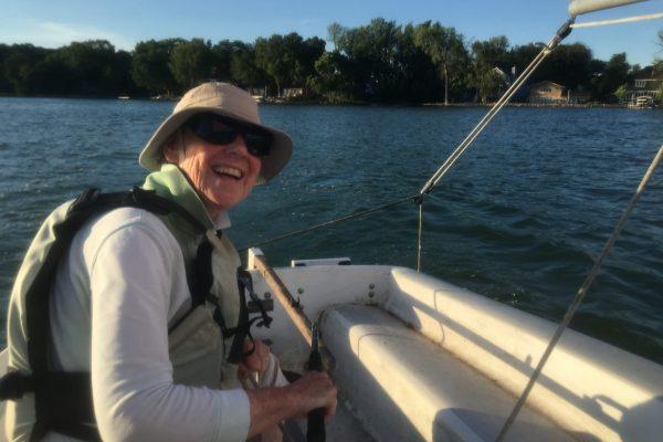 Julie Pretell sailing her 15' Capri
