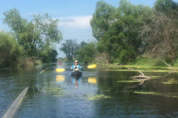 Julie Pretell kayaking the lower Yahara River