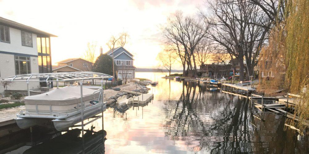 View of Lagoon du Sud in Belle Isle looking West