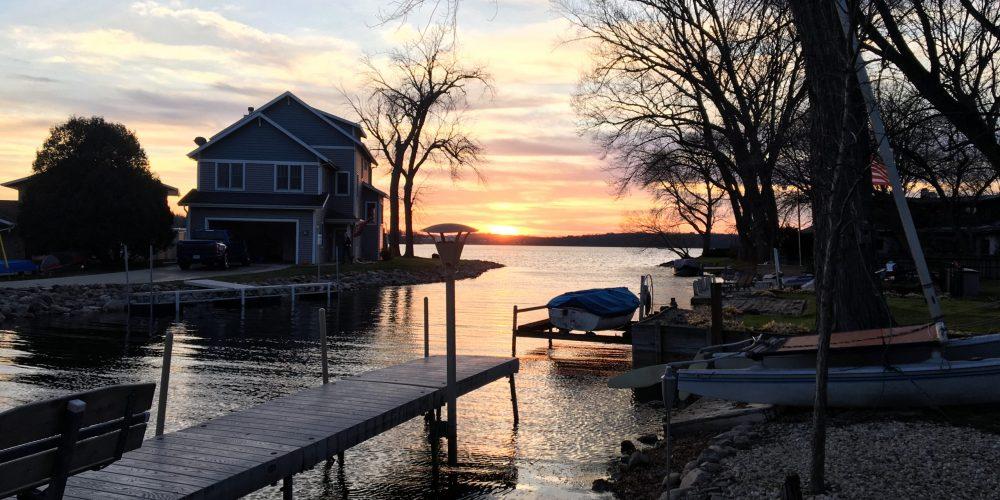 Sunset scene on Lagoon du Sud in Belle Isle